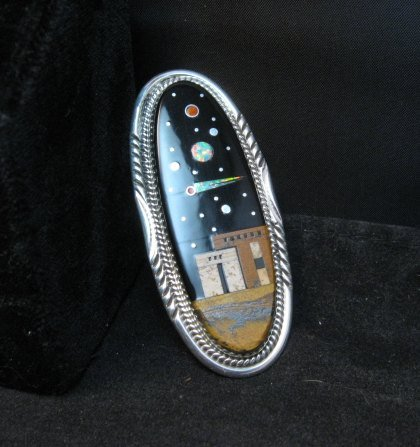 Image 2 of Long Navajo Micro Inlay Pueblo Night Sky Ring, Matthew Jack, sz7-1/4