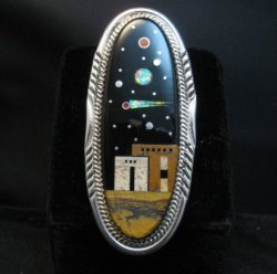 Long Navajo Micro Inlay Pueblo Night Sky Ring, Matthew Jack, sz7-1/4