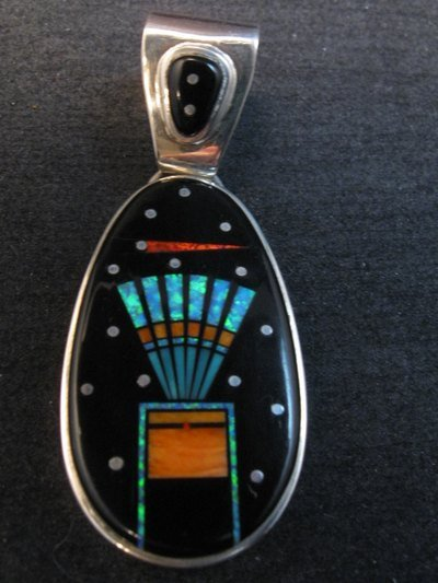 Image 0 of Navajo Native American Multigem Micro Inlay Pendant Matthew Jack