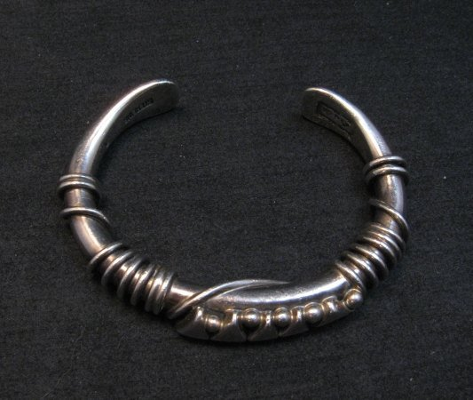 Image 6 of Vintage Navajo Orville Tsinnie Silver Triangle Wire Wrap Bracelet Large