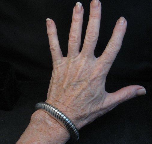 Image 1 of Vintage NAVAJO Sterling Silver Domed Modernist Bracelet, Orville Tsinnie