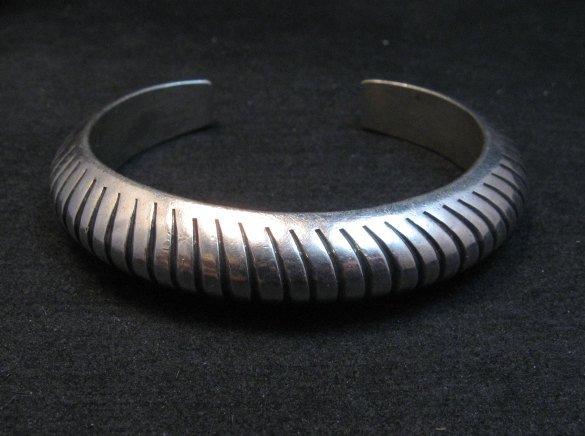 Image 3 of Vintage NAVAJO Sterling Silver Domed Modernist Bracelet, Orville Tsinnie