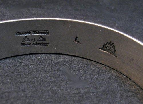 Image 5 of Vintage NAVAJO Sterling Silver Domed Modernist Bracelet, Orville Tsinnie