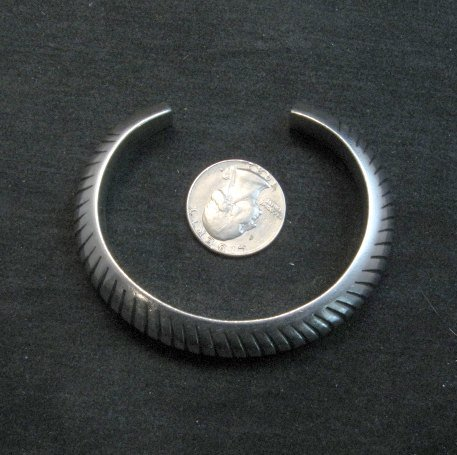 Image 7 of Vintage NAVAJO Sterling Silver Domed Modernist Bracelet, Orville Tsinnie
