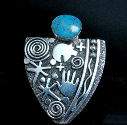 Image 0 of Huge Navajo Alex Sanchez Turquoise Silver Maiden Ring sz9