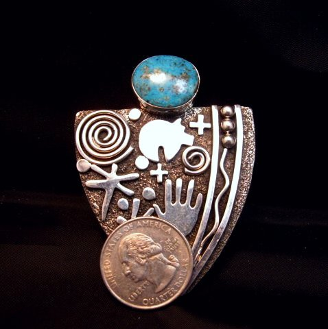 Image 2 of Huge Navajo Alex Sanchez Turquoise Silver Maiden Ring sz9