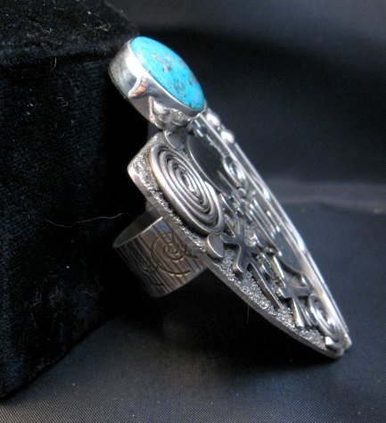 Image 3 of Huge Navajo Alex Sanchez Turquoise Silver Maiden Ring sz9