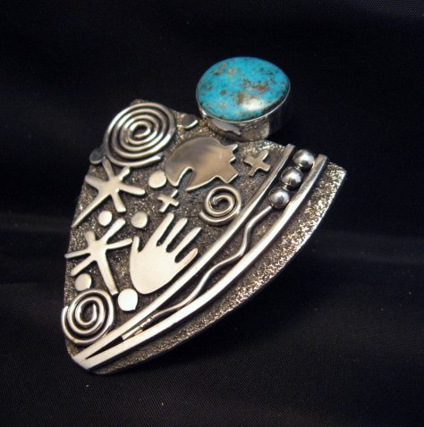 Image 4 of Huge Navajo Alex Sanchez Turquoise Silver Maiden Ring sz9
