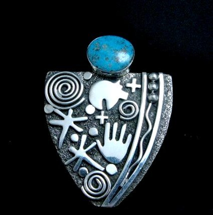 Image 5 of Huge Navajo Alex Sanchez Turquoise Silver Maiden Ring sz9