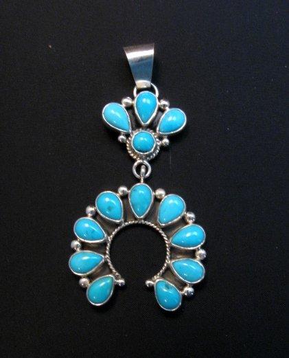 Image 0 of Navajo Turquoise Silver Cluster Naja Pendant, Verdy Jake