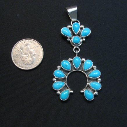 Image 2 of Navajo Turquoise Silver Cluster Naja Pendant, Verdy Jake