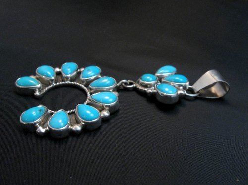 Image 3 of Navajo Turquoise Silver Cluster Naja Pendant, Verdy Jake