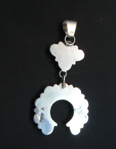 Image 4 of Navajo Turquoise Silver Cluster Naja Pendant, Verdy Jake