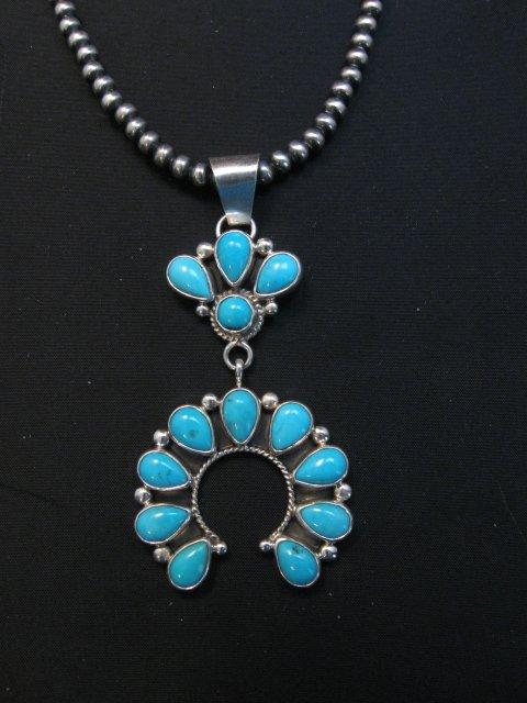 Image 1 of Navajo Turquoise Silver Cluster Naja Pendant, Verdy Jake