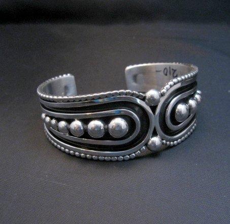 Image 1 of Contemporary Native American Navajo Oxidized Sterling Bracelet Johnathan Nez
