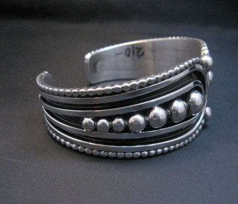 Image 2 of Contemporary Native American Navajo Oxidized Sterling Bracelet Johnathan Nez