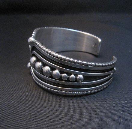 Image 3 of Contemporary Native American Navajo Oxidized Sterling Bracelet Johnathan Nez