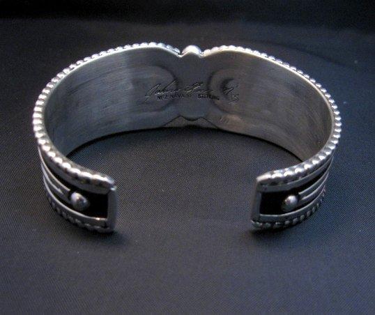 Image 4 of Contemporary Native American Navajo Oxidized Sterling Bracelet Johnathan Nez
