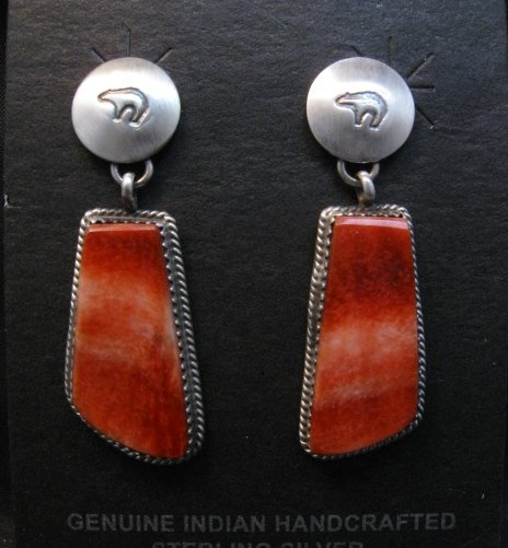 Image 0 of Navajo Red Spiny Oyster Sterling Silver Earrings, Selena Warner
