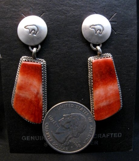 Image 1 of Navajo Red Spiny Oyster Sterling Silver Earrings, Selena Warner