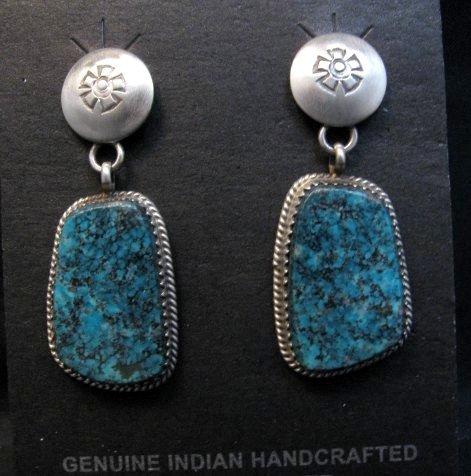 Image 0 of Navajo Native American Turquoise Sterling Silver Earrings, Selena Warner