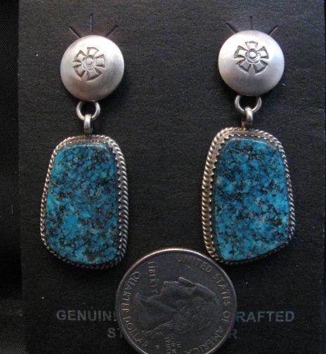 Image 1 of Navajo Native American Turquoise Sterling Silver Earrings, Selena Warner
