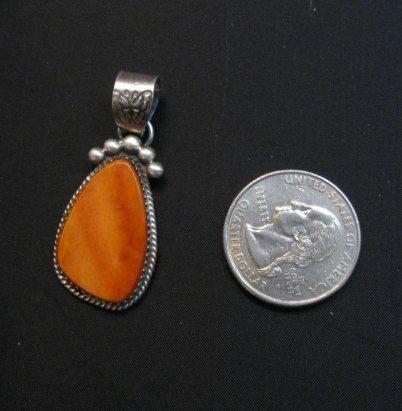 Image 1 of Navajo Orange Spiny Oyster Sterling Silver Pendant, Selena Warner