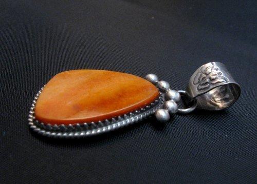 Image 2 of Navajo Orange Spiny Oyster Sterling Silver Pendant, Selena Warner
