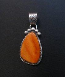 Navajo Orange Spiny Oyster Sterling Silver Pendant, Selena Warner