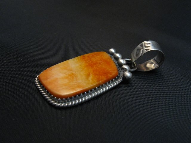 Image 1 of Selena Warner Navajo Native American Orange Spiny Oyster Pendant