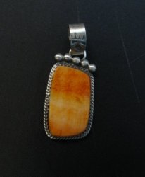 Selena Warner Navajo Native American Orange Spiny Oyster Pendant