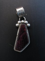 Navajo Purple Spiny Oyster Sterling Silver Pendant, Selena Warner