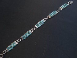Zuni 2-Row 50 Turquoise Snake Eye Sterling Silver Link Bracelet April Haloo