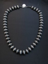 Taisheena Long ~ Native American ~ Silver Fluted Bead Necklace 19-inch