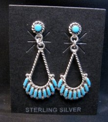 Dainty Zuni Turquoise Needlepoint Dangle Earrings