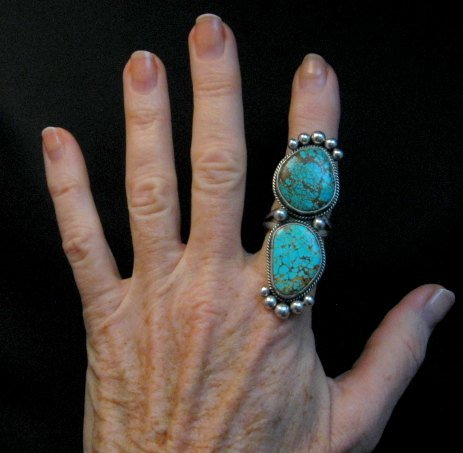 Image 1 of Huge One of a Kind Navajo Turquoise Silver Ring sz8-1/2 Donovan Cadman