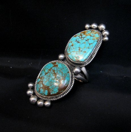 Image 3 of Huge One of a Kind Navajo Turquoise Silver Ring sz8-1/2 Donovan Cadman