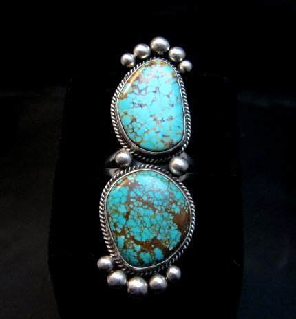 Image 4 of Huge One of a Kind Navajo Turquoise Silver Ring sz8-1/2 Donovan Cadman