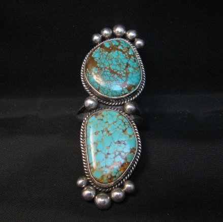 Image 5 of Huge One of a Kind Navajo Turquoise Silver Ring sz8-1/2 Donovan Cadman