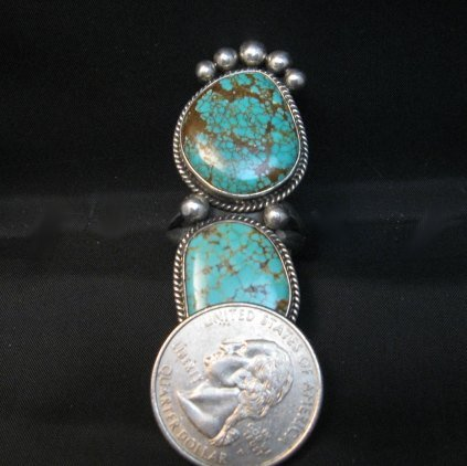 Image 6 of Huge One of a Kind Navajo Turquoise Silver Ring sz8-1/2 Donovan Cadman