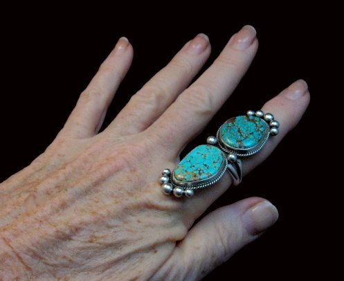Image 7 of Huge One of a Kind Navajo Turquoise Silver Ring sz8-1/2 Donovan Cadman