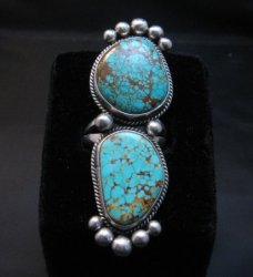 Huge One of a Kind Navajo Turquoise Silver Ring sz8-1/2 Donovan Cadman