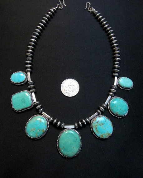 Image 9 of Navajo Native American 7pc Turquoise Silver Bead Necklace, Everett Mary Teller