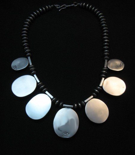 Image 6 of Navajo Native American 7pc Turquoise Silver Bead Necklace, Everett Mary Teller