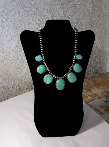 Image 1 of Navajo Native American 7pc Turquoise Silver Bead Necklace, Everett Mary Teller