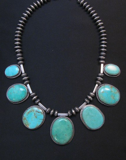 Image 0 of Navajo Native American 7pc Turquoise Silver Bead Necklace, Everett Mary Teller