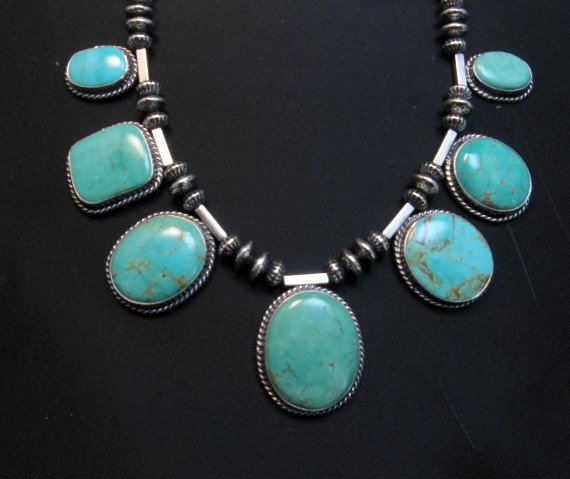 Image 2 of Navajo Native American 7pc Turquoise Silver Bead Necklace, Everett Mary Teller