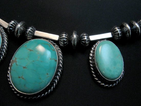 Image 3 of Navajo Native American 7pc Turquoise Silver Bead Necklace, Everett Mary Teller