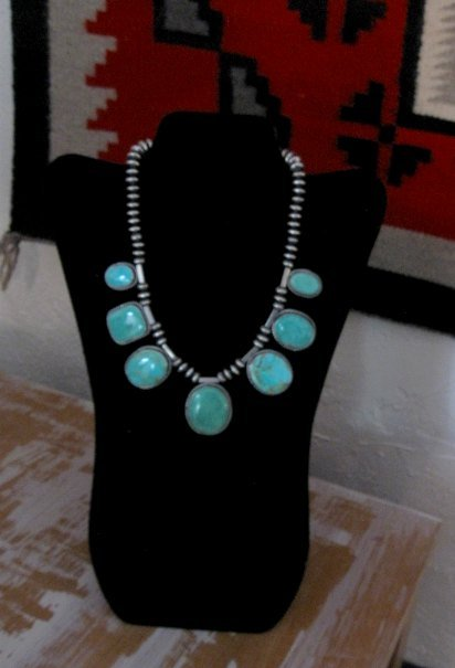 Image 8 of Navajo Native American 7pc Turquoise Silver Bead Necklace, Everett Mary Teller