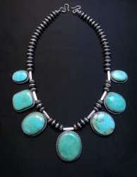 Navajo Native American 7pc Turquoise Silver Bead Necklace, Everett Mary Teller